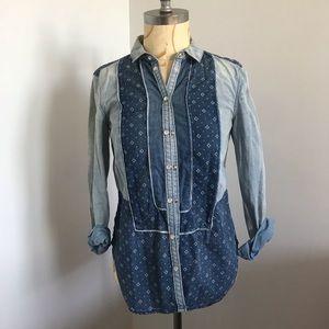 Denim shirt w geometric patterns